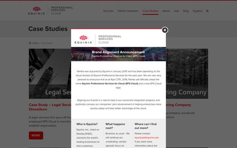Screenshot of Case Studies Page nimbo.com - Works Archive - Equinix Professional Services for Cloud - captured April 27, 2016