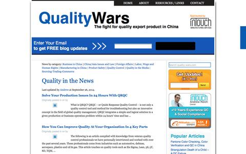Screenshot of Press Page quality-wars.com - Quality in the News Archives - China Quality Control | China Quality Control - captured March 14, 2016