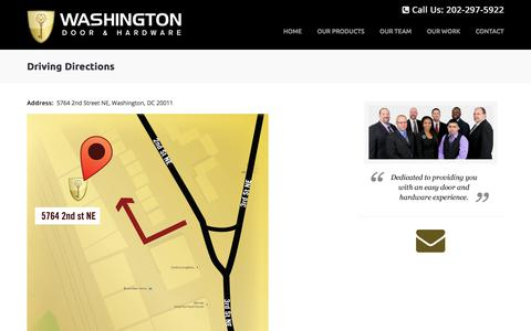 Screenshot of Maps & Directions Page washingtondoor.net - Driving Directions - Washington Door & Hardware - captured Nov. 6, 2017