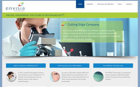 Screenshot of Home Page envisiatherapeutics.com - Envisia - captured Sept. 11, 2014