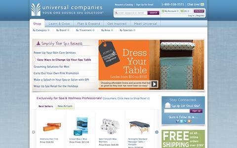 Screenshot of Home Page universalcompanies.com - Universal Companies for spa equipment, massage equipment, esthetician equipment, professional spa supplies - captured Sept. 22, 2014
