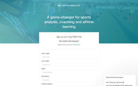 Screenshot of Signup Page Trial Page performasports.com - Sign up - captured July 17, 2018