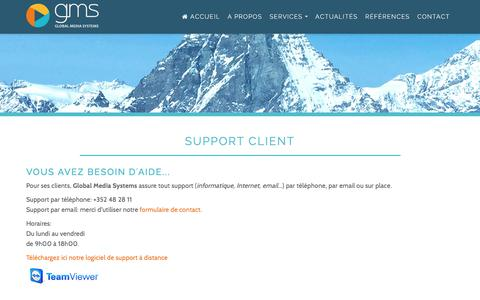 Screenshot of Support Page gms.lu - Support client | Global Media Systems - captured Nov. 28, 2017