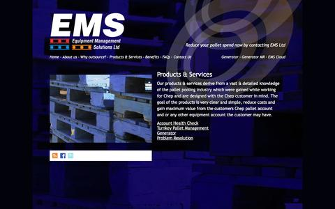 Screenshot of Products Page emspalletmanagement.co.uk - Products & Services | EMS Pallet Management - captured Jan. 30, 2016