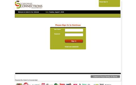 Screenshot of Login Page cobornsinc.com - Coborn's Inc. Intranet - captured Aug. 8, 2018
