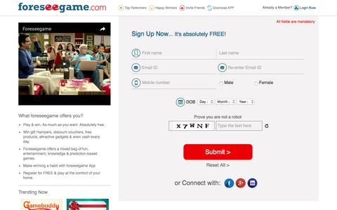 Screenshot of Signup Page foreseegame.com - Member Registration - captured Nov. 25, 2016