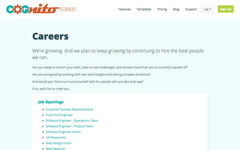 Screenshot of Jobs Page cognitoforms.com - Careers - Cognito Forms Features - captured Feb. 11, 2020