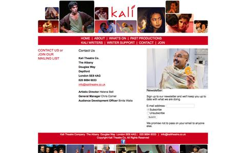Screenshot of Contact Page Signup Page kalitheatre.co.uk - Kali Theatre > Contact - captured April 9, 2017
