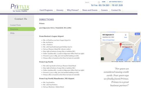Screenshot of Maps & Directions Page primax.us - Directions | Primax - captured Sept. 30, 2014
