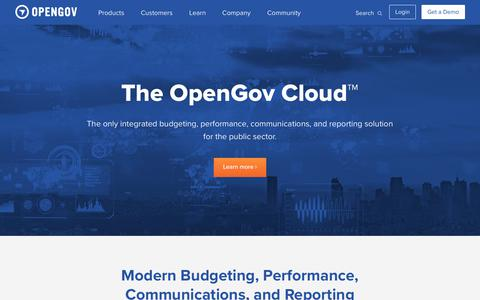 Screenshot of Products Page opengov.com - The OpenGov Cloud | OpenGov - captured Feb. 21, 2019