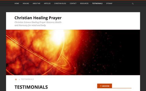 Screenshot of Testimonials Page christian-healing-prayer.net - Healing Testimonies I Christian Science Prayer | Christian Healing Prayer - captured May 26, 2016