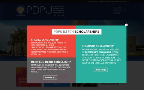 Screenshot of Home Page pdpu.ac.in - Pandit Deendayal Petroleum University   Gandhinagar - captured July 16, 2015