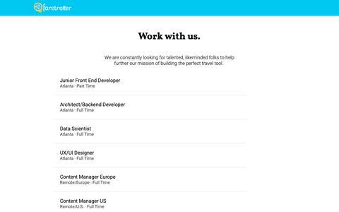 Screenshot of Jobs Page faretrotter.com - Faretrotter Jobs - captured Dec. 9, 2018