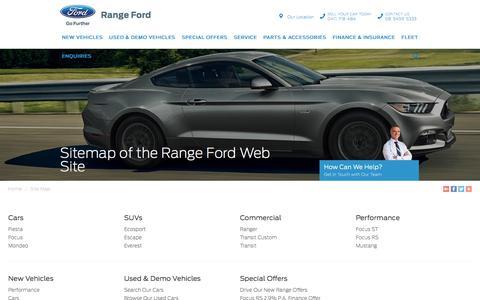 Screenshot of Site Map Page rangeford.com.au - Sitemap of the Range Ford Web Site - Range Ford - captured Sept. 21, 2018