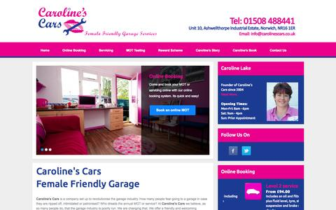 Screenshot of Home Page carolinescars.co.uk - Caroline's Cars - Female Friendly MOT Garage Services in Norwich - captured July 19, 2015