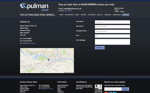 Screenshot of Contact Page pulmans.co.uk - Contact a steel stockholding expert at Pulman Steel, Yorkshire & Lancashire UK - captured Oct. 4, 2014