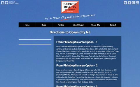 Screenshot of Maps & Directions Page bergerrealty.com - Directions to Ocean City NJ - captured Jan. 19, 2016