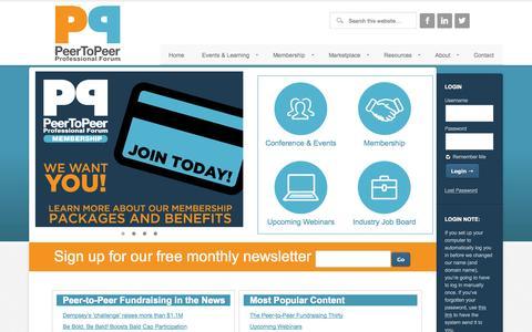 Screenshot of Home Page peertopeerforum.com - Peer to Peer Fundraising - captured Oct. 2, 2014