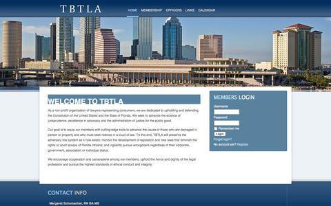 Screenshot of Home Page tbtla.us - TBTLA - Tampa Bay Trial Lawyers Association - captured Sept. 3, 2015