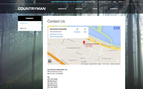 Screenshot of Contact Page countryman.com - Contact Us  | Countryman Associates, Inc. - captured Oct. 3, 2014