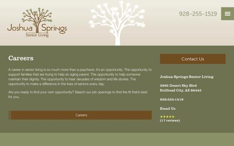 Screenshot of Jobs Page milestoneretirement.com - Joshua Springs Senior Living | Our Careers - captured Jan. 25, 2017