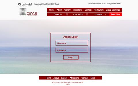 Screenshot of Login Page circahotel.co.za - Hotel | Cape Town | Circa Luxury Apartment Hotel | CTICC | Agents - captured July 18, 2018