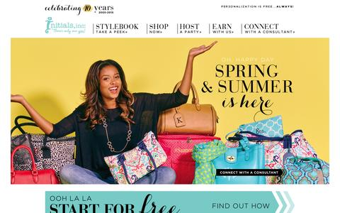 Screenshot of Home Page initials-inc.com - Initials, Inc.   Initials, Inc. - Fashionable and Personalized Handbag, Accessory and Home   Organization Products and Business Opportunity for Women and Moms - captured Jan. 28, 2015