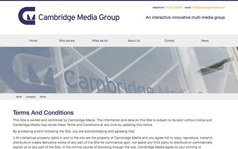 Screenshot of Terms Page cambridge-media.com - Cambridge Media Group - Terms And Conditions - captured July 13, 2017