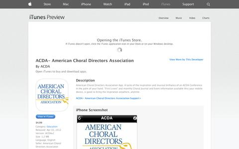 Screenshot of iOS App Page apple.com - ACDA- American Choral Directors Association on the App Store on iTunes - captured Oct. 23, 2014