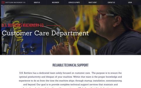 Screenshot of Support Page usbottlers.com - Customer Service - US Bottlers Machinery Co. - captured July 5, 2017