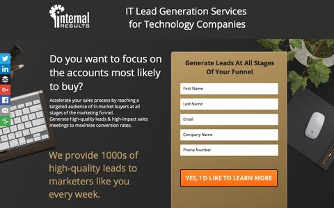 Screenshot of Landing Page internalresults.com - IT Lead Generation Services - captured March 2, 2018
