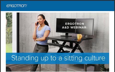 Screenshot of Landing Page ergotron.com captured Sept. 19, 2018