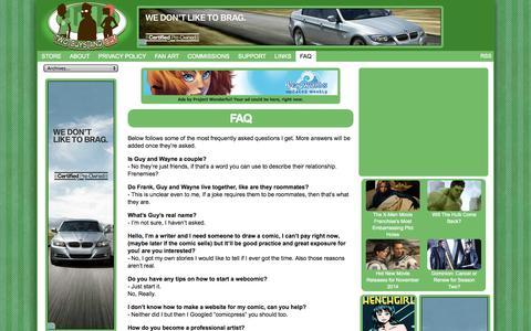Screenshot of FAQ Page twogag.com - Two Guys and Guy - FAQ - captured Nov. 4, 2014