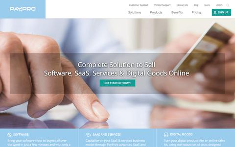 Screenshot of Home Page payproglobal.com - Sell Software Online with PayPro Global - captured Jan. 13, 2016