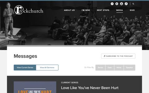Screenshot of Press Page rockofasheville.com - The Rock Church: Candler, NC > Messages - captured Oct. 31, 2018