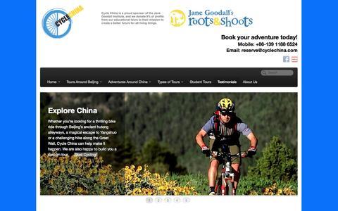 Screenshot of Testimonials Page cyclechina.com - Cycle China - Bike Tours, Great Wall Hiking, and Adventures around China | Testimonials - captured Sept. 30, 2014