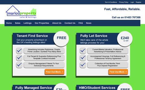 Screenshot of Home Page marlouproperty.co.uk - Marlou Property: Let your property for Ł40 - captured Jan. 9, 2016