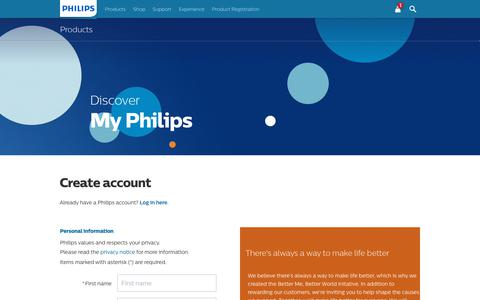 Screenshot of Login Page philips.com - Login - captured June 19, 2019