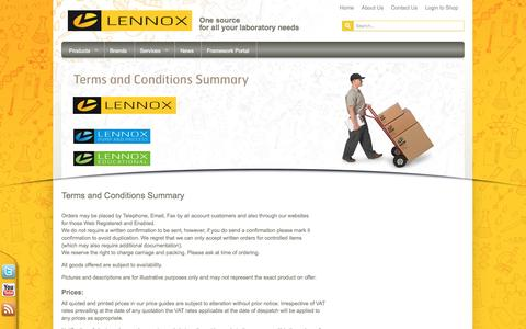 Screenshot of Terms Page lennox.ie - Terms and Conditions - Lennox Laboratory Supplies - captured Jan. 28, 2016