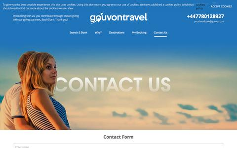 Screenshot of Contact Page gouvon.com - Get in touch - gouvontravel - captured July 15, 2018