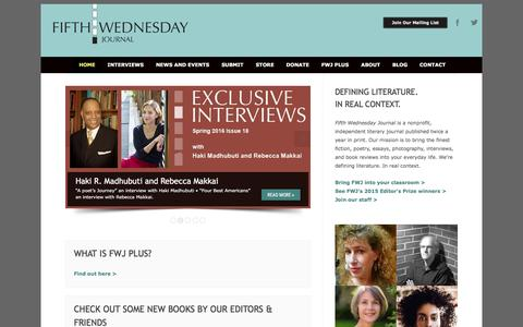 Screenshot of Home Page fifthwednesdayjournal.com - Fifth Wednesday Journal | - captured June 23, 2016