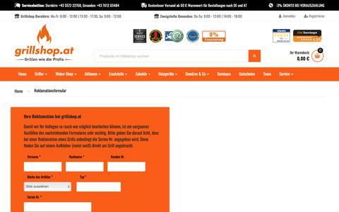 Screenshot of Support Page grillshop.at - reklamationsformular - captured Nov. 14, 2018