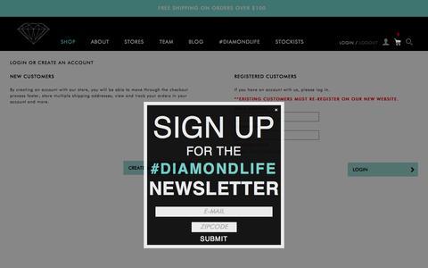 Screenshot of Login Page diamondsupplyco.com - Customer Login - captured Oct. 20, 2015