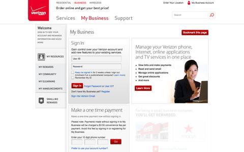 Screenshot of Login Page verizon.com - Verizon My Business Account Sign In   Verizon - captured Oct. 22, 2014