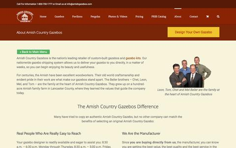 Screenshot of About Page amishgazebos.com - Amish Craftmanship   Custom Built Gazebos   Amish Country Gazebos - captured Jan. 10, 2017