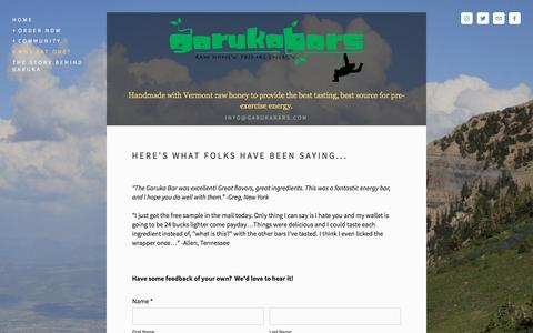 Screenshot of Testimonials Page garukabars.com - Testimonials — Garuka Bars - captured May 11, 2017