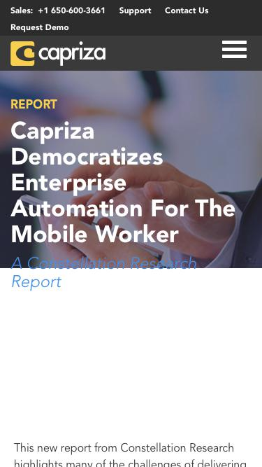 Constellation Research Report: Capriza Democratizes Enterprise Automation For the Mobile Worker