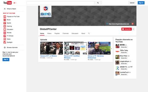 Screenshot of YouTube Page youtube.com - GlobalIPCenter  - YouTube - captured Oct. 22, 2014