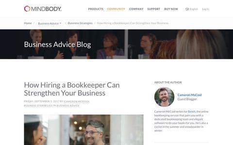 Screenshot of mindbodyonline.com - MINDBODY: How Hiring a Bookkeeper Can Strengthen Your Business - captured Sept. 2, 2017