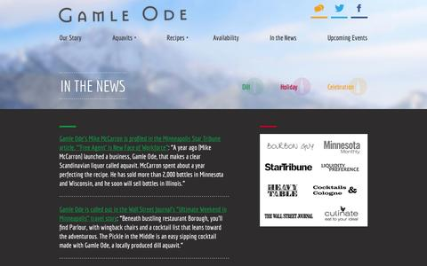 Screenshot of Press Page gamleode.com - In The News | Gamle Ode Aquavit - captured Oct. 2, 2014